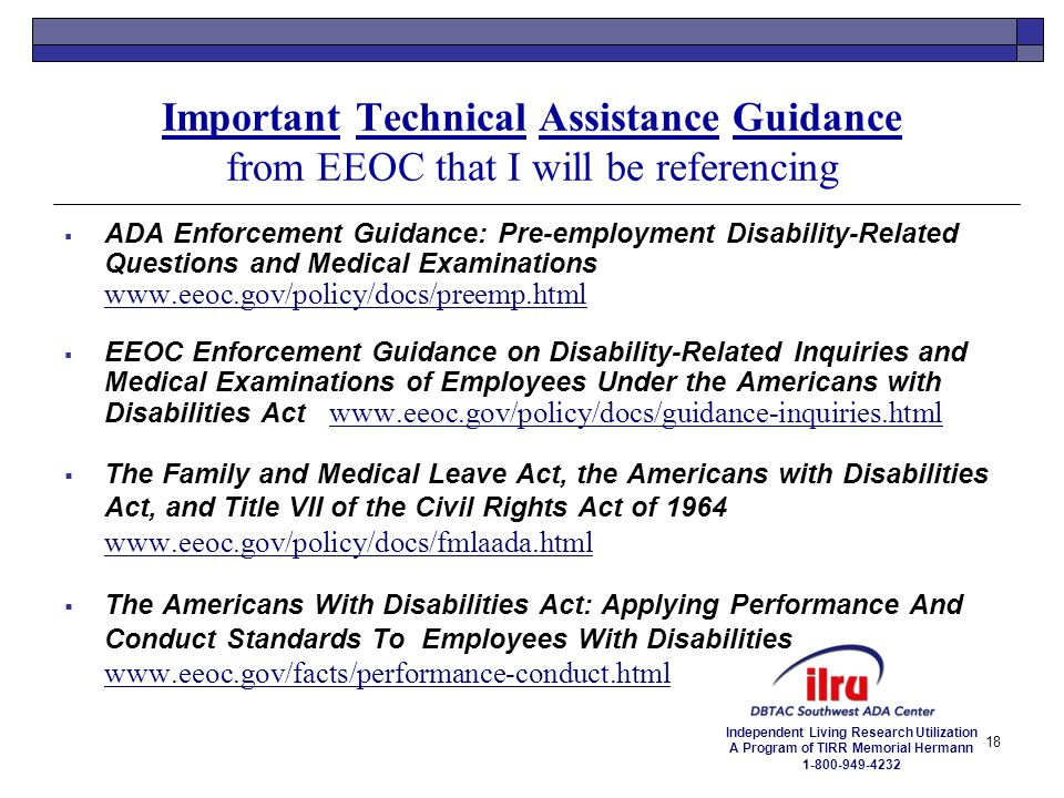 Important Technical Assistance Guidance from EEOC that I will be referencing