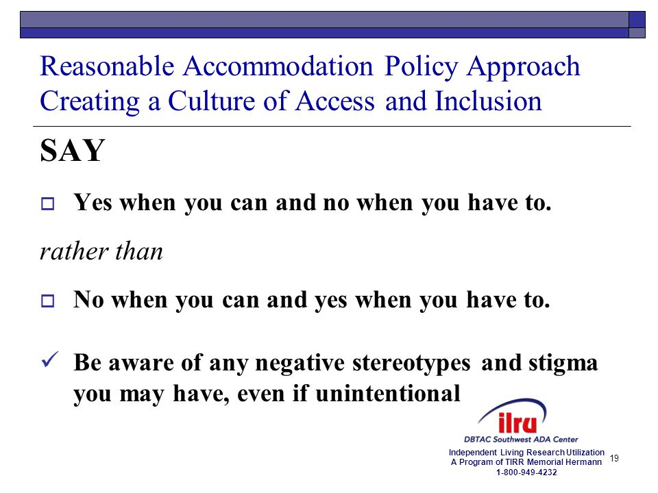 Reasonable Accommodation Policy Approach Creating a Culture of Access and Inclusion