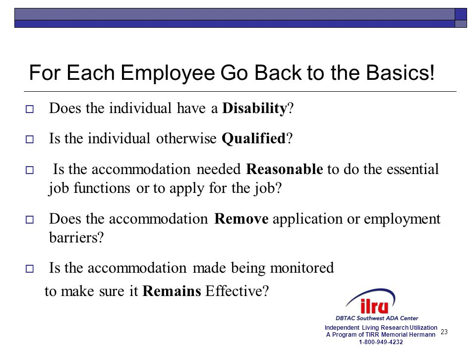 For Each Employee Go Back to the Basics!