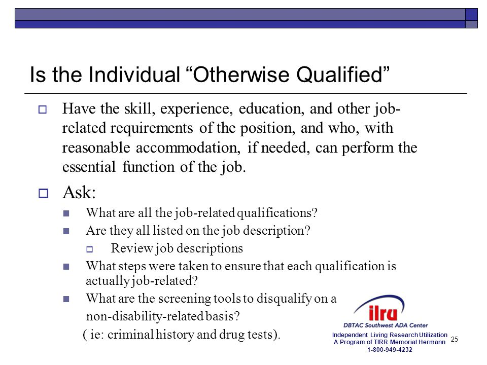 Is the Individual Otherwise Qualified