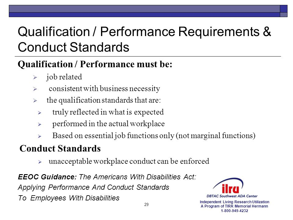 Qualification / Performance Requirements & Conduct Standards