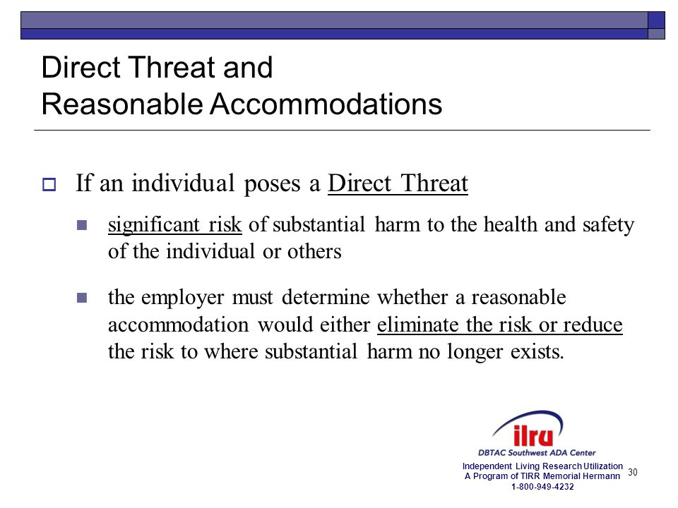 Direct Threat and Reasonable Accommodations