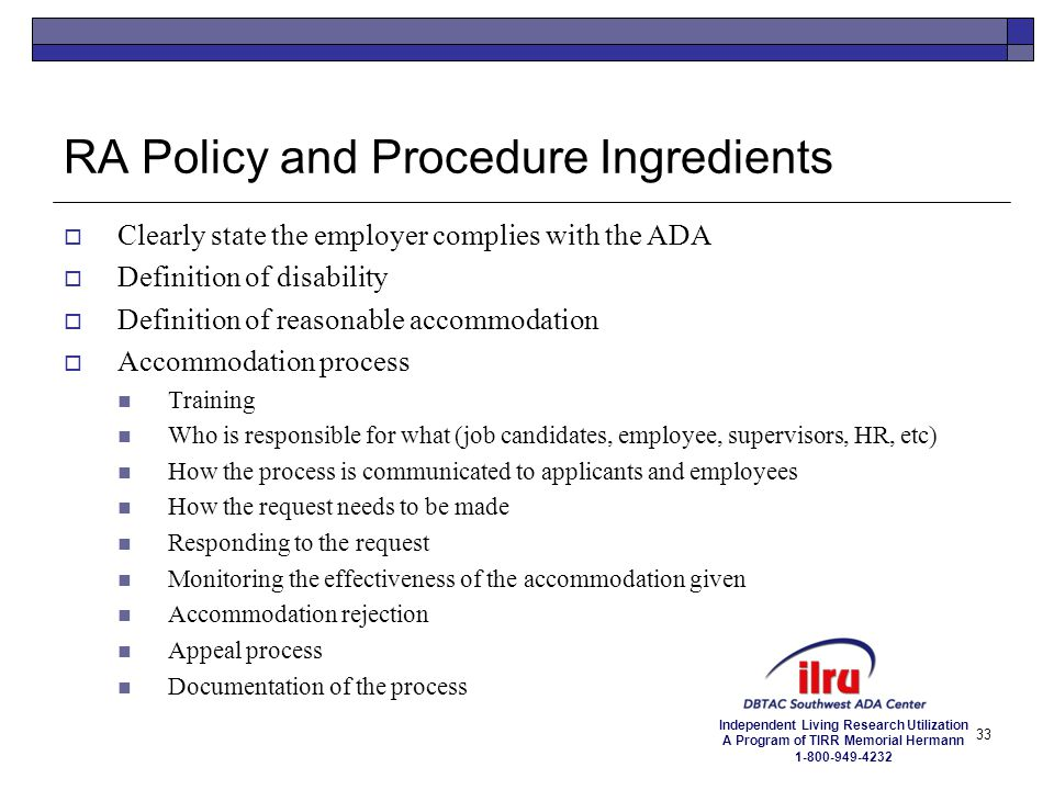 RA Policy and Procedure Ingredients