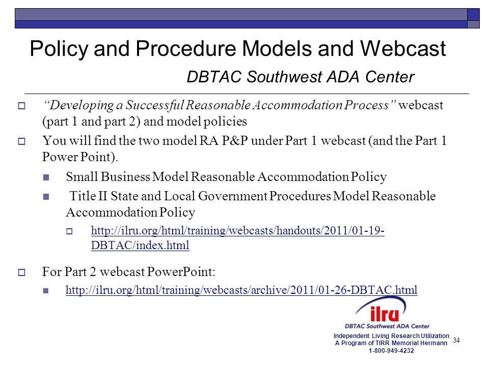 Policy and Procedure Models and Webcast DBTAC Southwest ADA Center