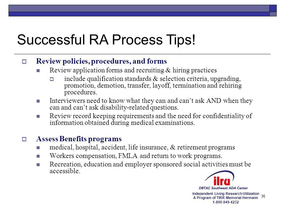 Successful RA Process Tips!