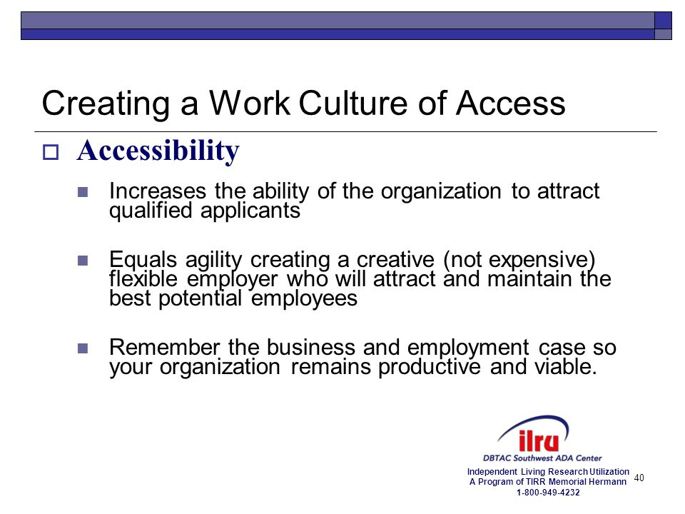 Creating a Work Culture of Access