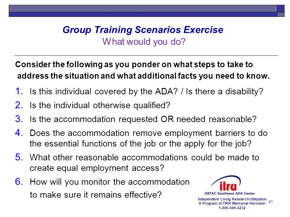 Group Training Scenarios Exercise What would you do