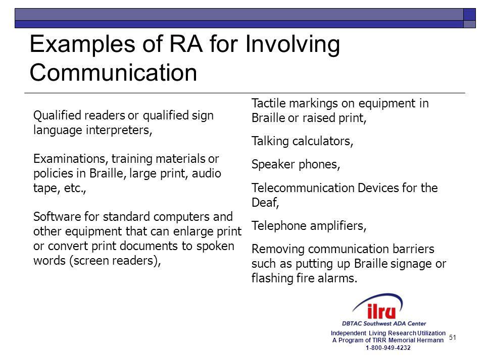Examples of RA for Involving Communication