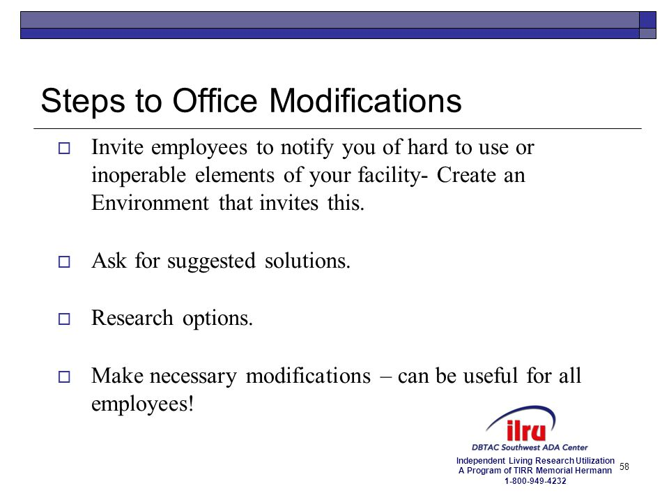 Steps to Office Modifications