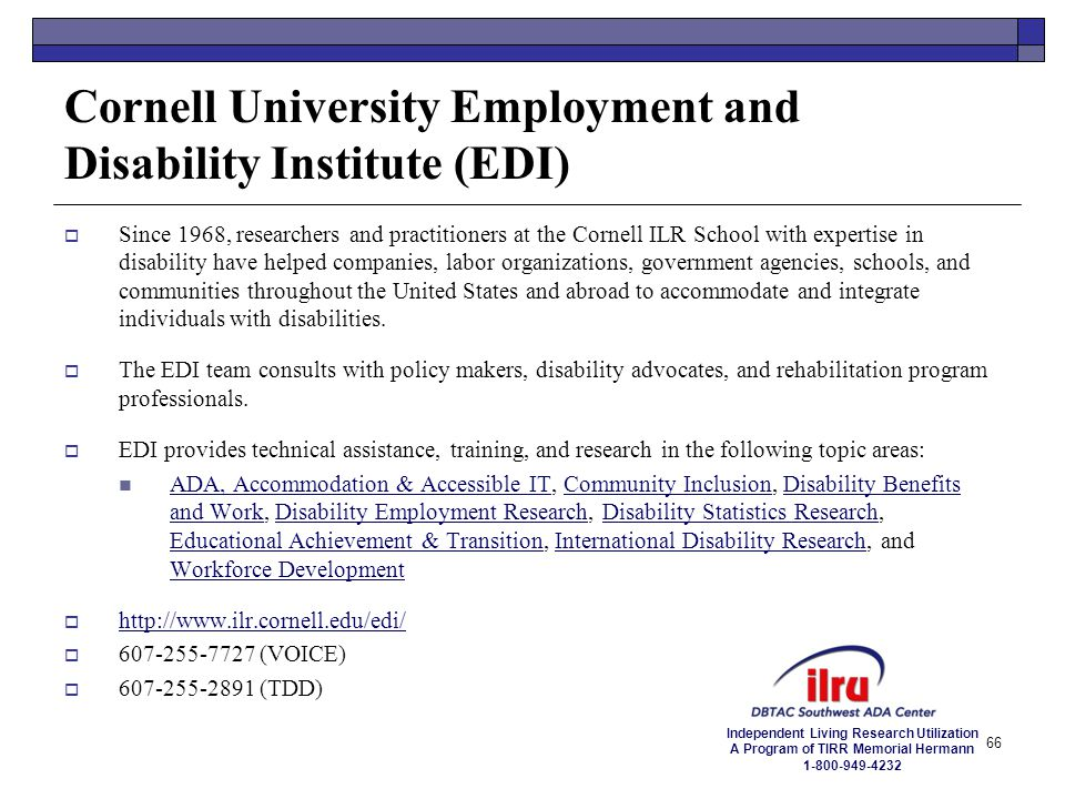 Cornell University Employment and Disability Institute (EDI)