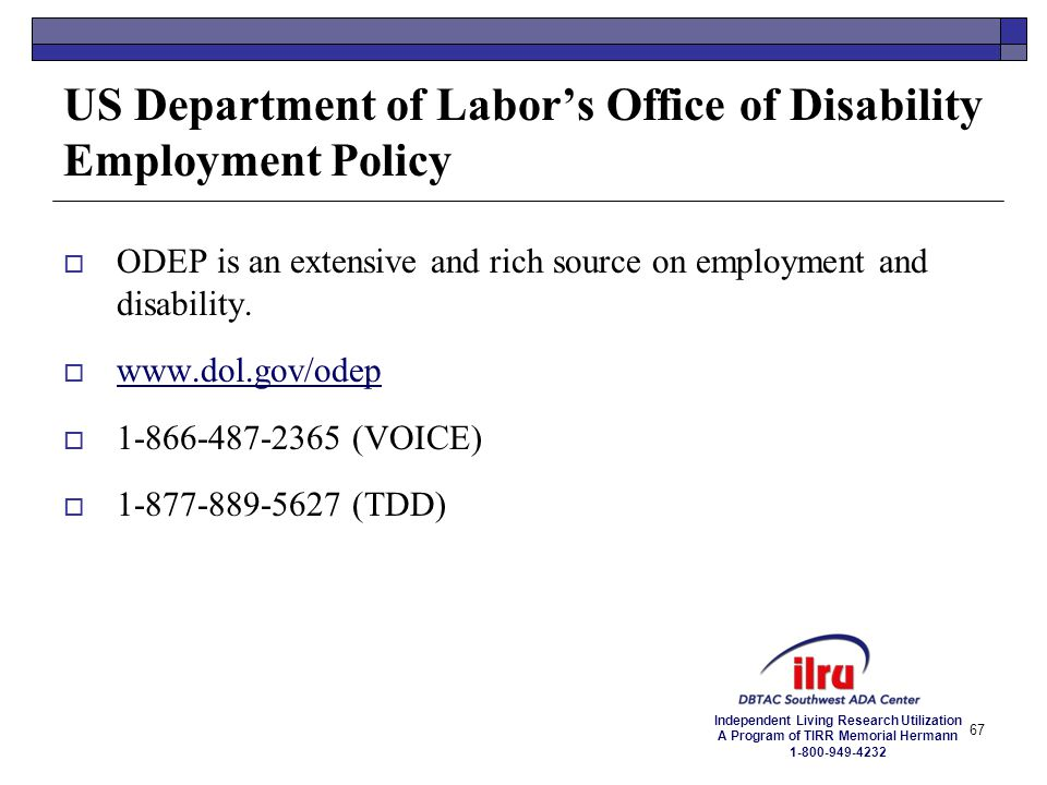 US Department of Labor's Office of Disability Employment Policy