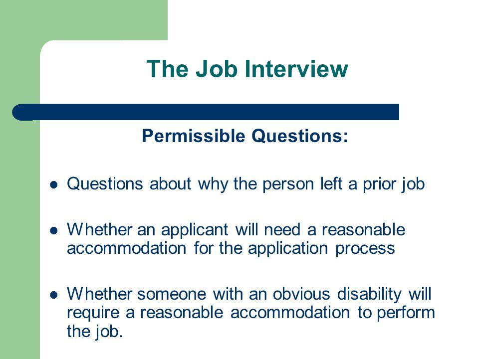 Permissible Questions: