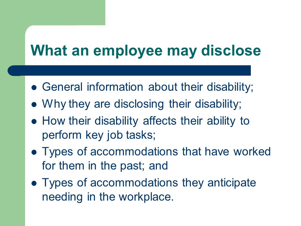 What an employee may disclose
