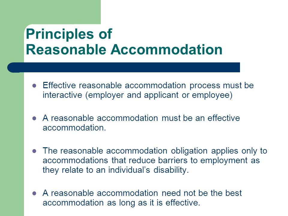 Principles of Reasonable Accommodation