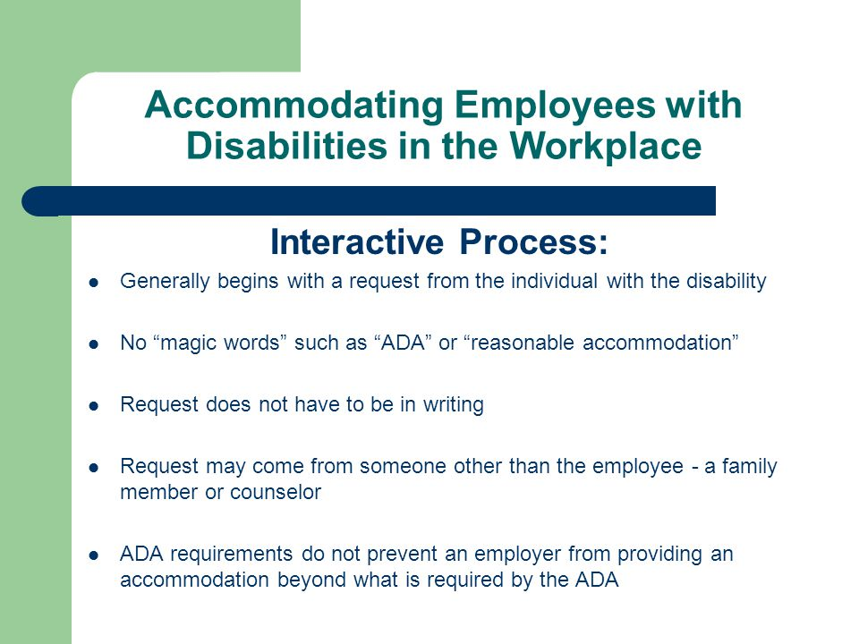 accommodating to or with The university is required through federal mandates to be non-discriminatory based on disability in all its programs and services these obligations apply to all individuals employed by the university the process of non-discrimination has as its goal to minimize the effects of a disability that.