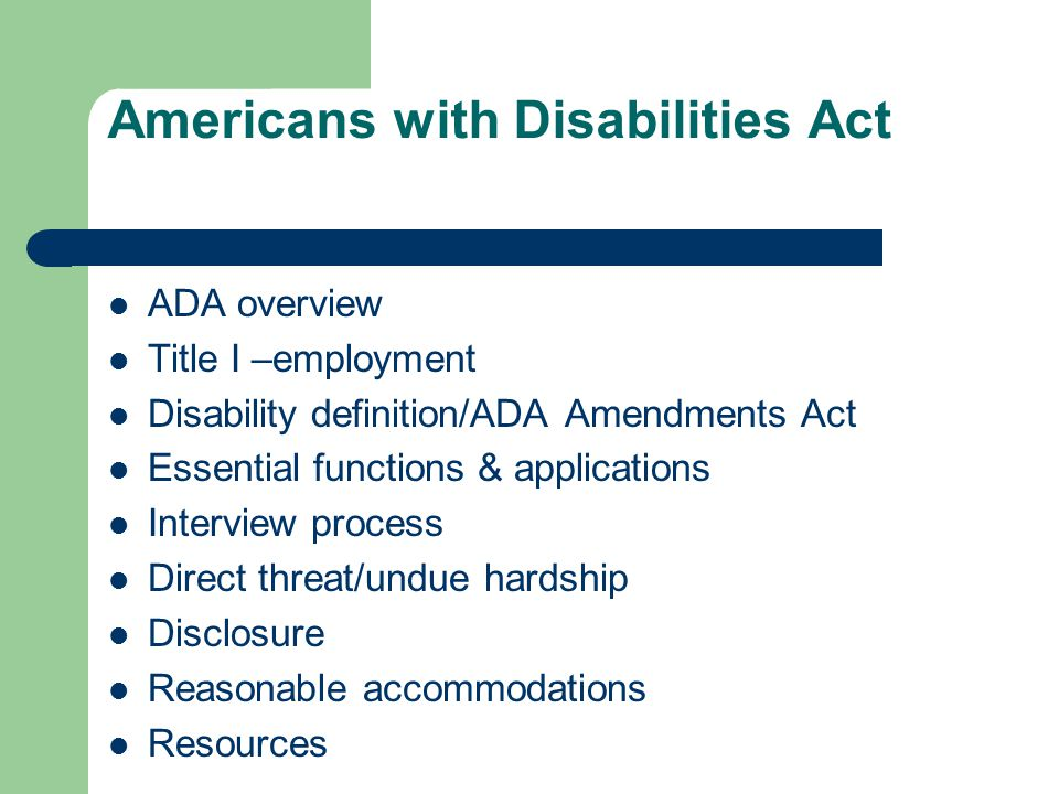 the american disability act Discrimination in employment against qualified individuals with disabilities is prohibited by the federal americans with disabilities act of 1990 (ada.