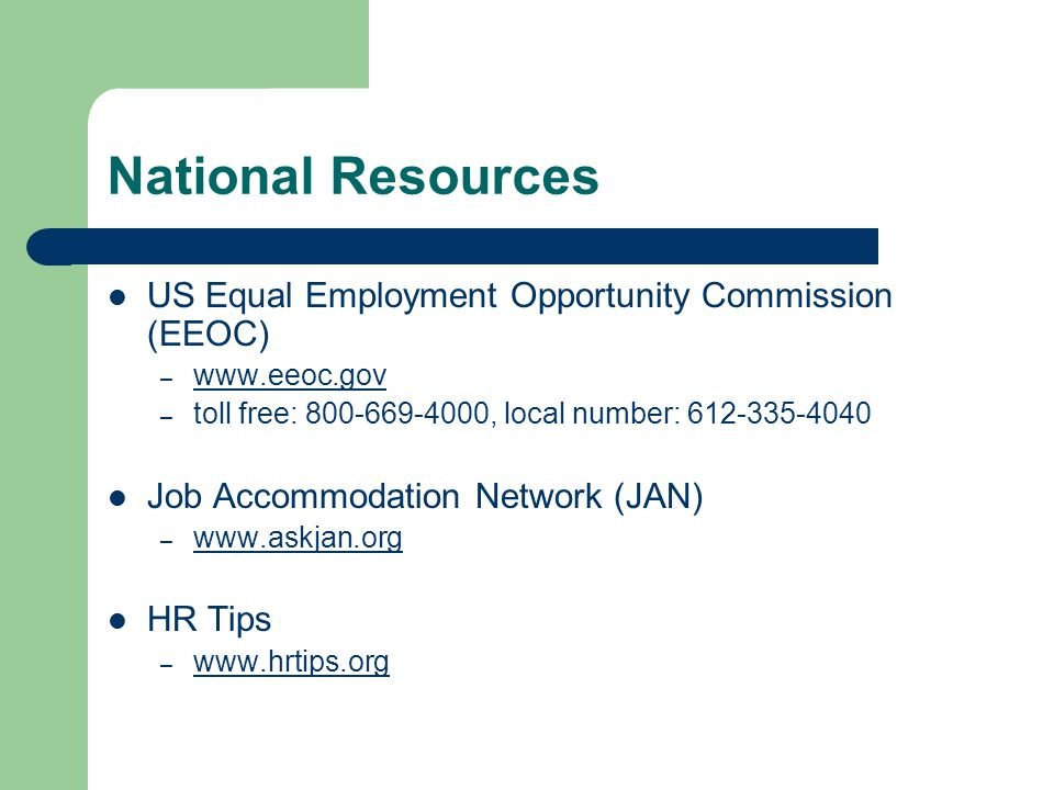 National Resources US Equal Employment Opportunity Commission (EEOC)