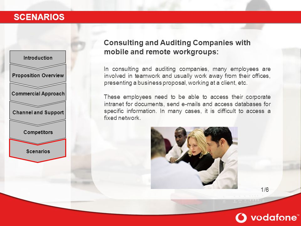 SCENARIOS Consulting and Auditing Companies with mobile and remote workgroups: