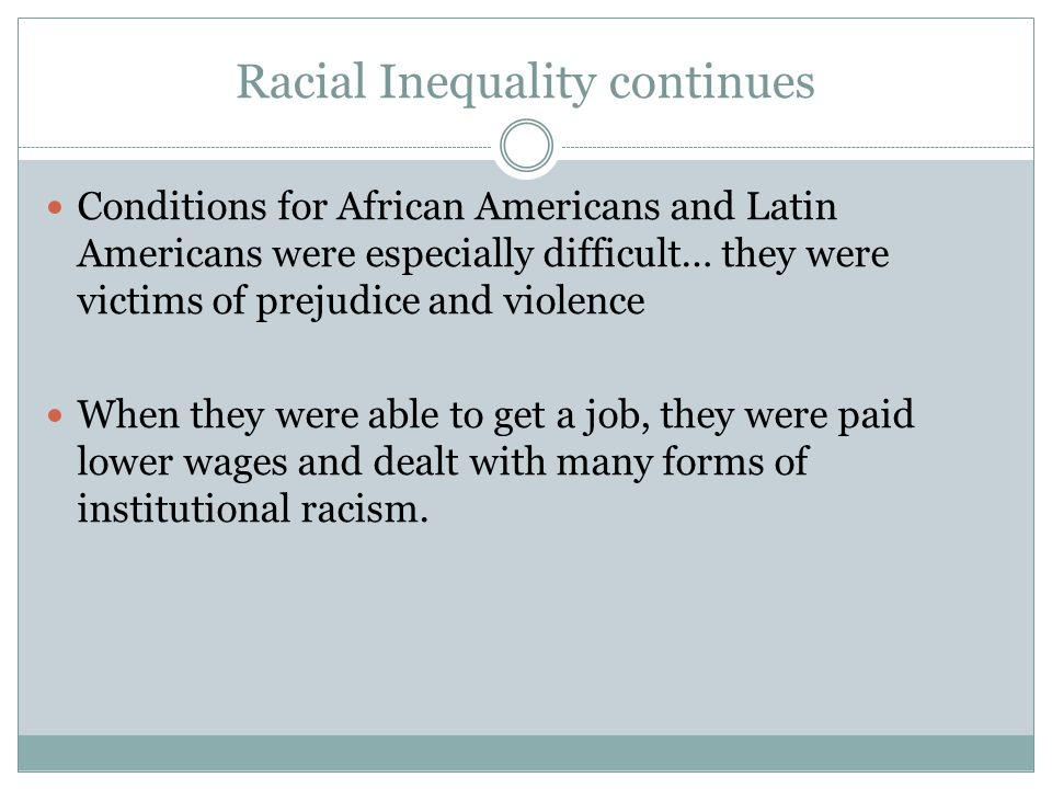 Racial Inequality continues