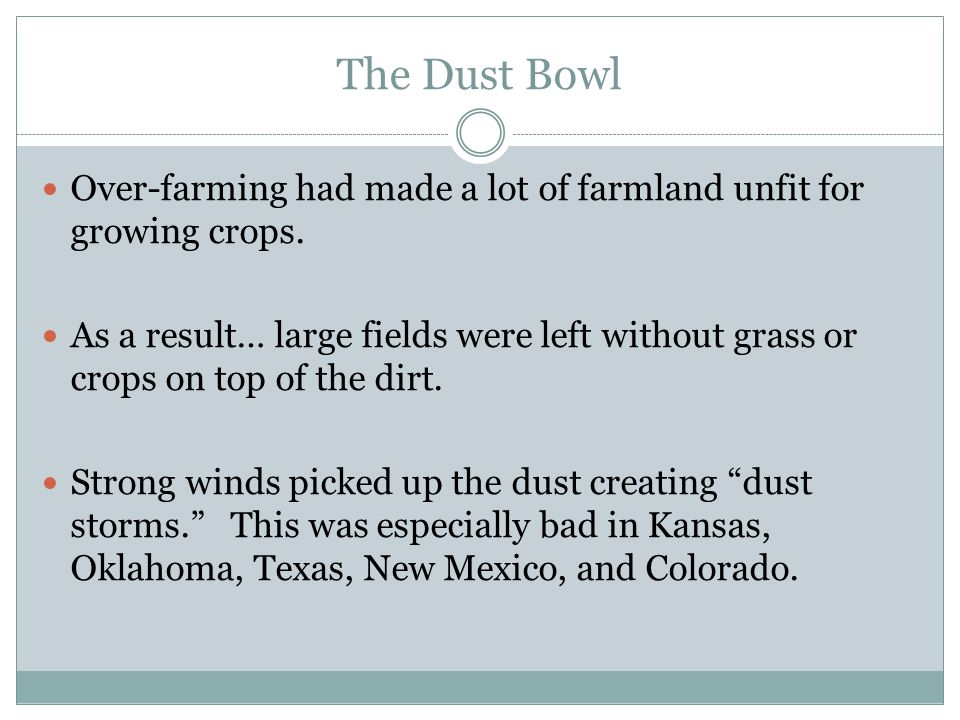The Dust Bowl Over-farming had made a lot of farmland unfit for growing crops.