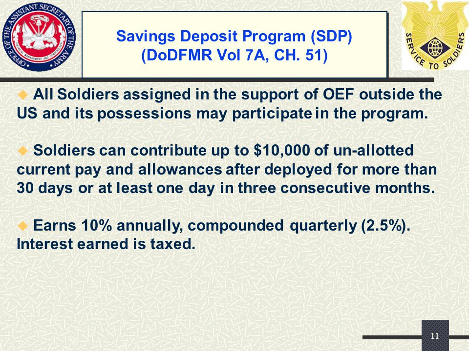 Savings Deposit Program (SDP) (DoDFMR Vol 7A, CH. 51)
