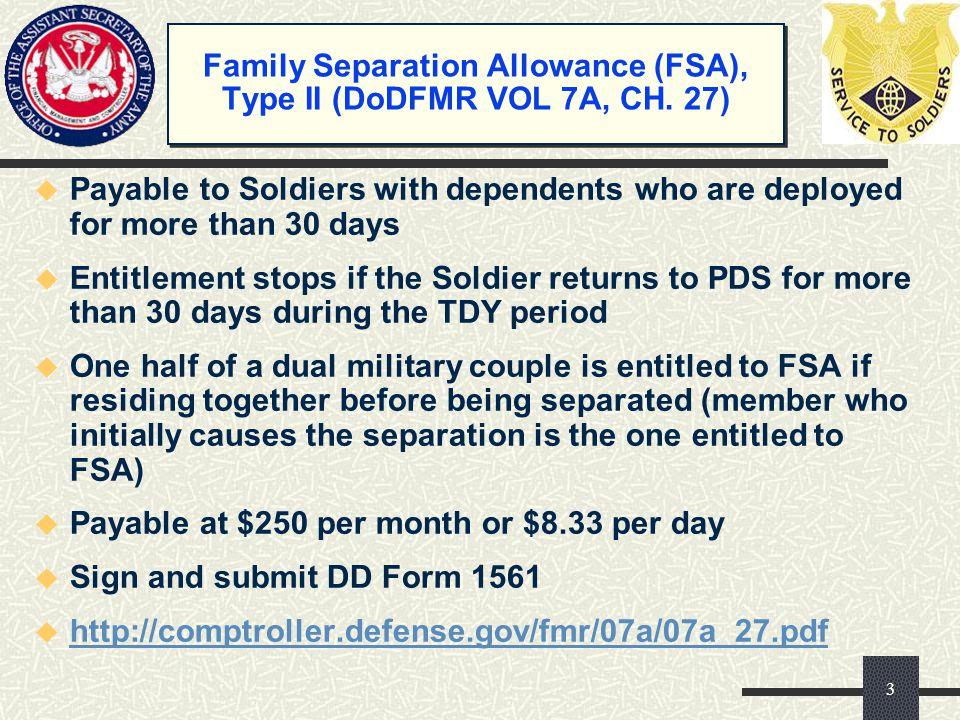 Family Separation Allowance (FSA), Type II (DoDFMR VOL 7A, CH. 27)
