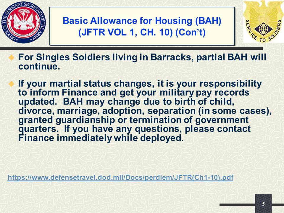 Basic Allowance for Housing (BAH) (JFTR VOL 1, CH. 10) (Con't)