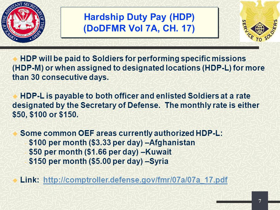 Hardship Duty Pay (HDP) (DoDFMR Vol 7A, CH. 17)