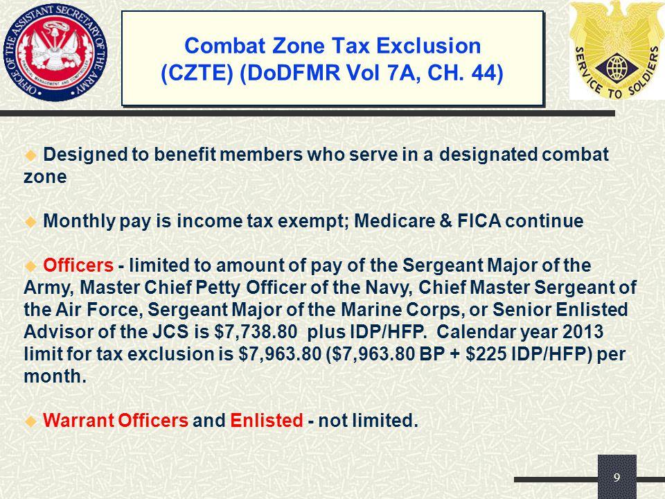 Combat Zone Tax Exclusion (CZTE) (DoDFMR Vol 7A, CH. 44)