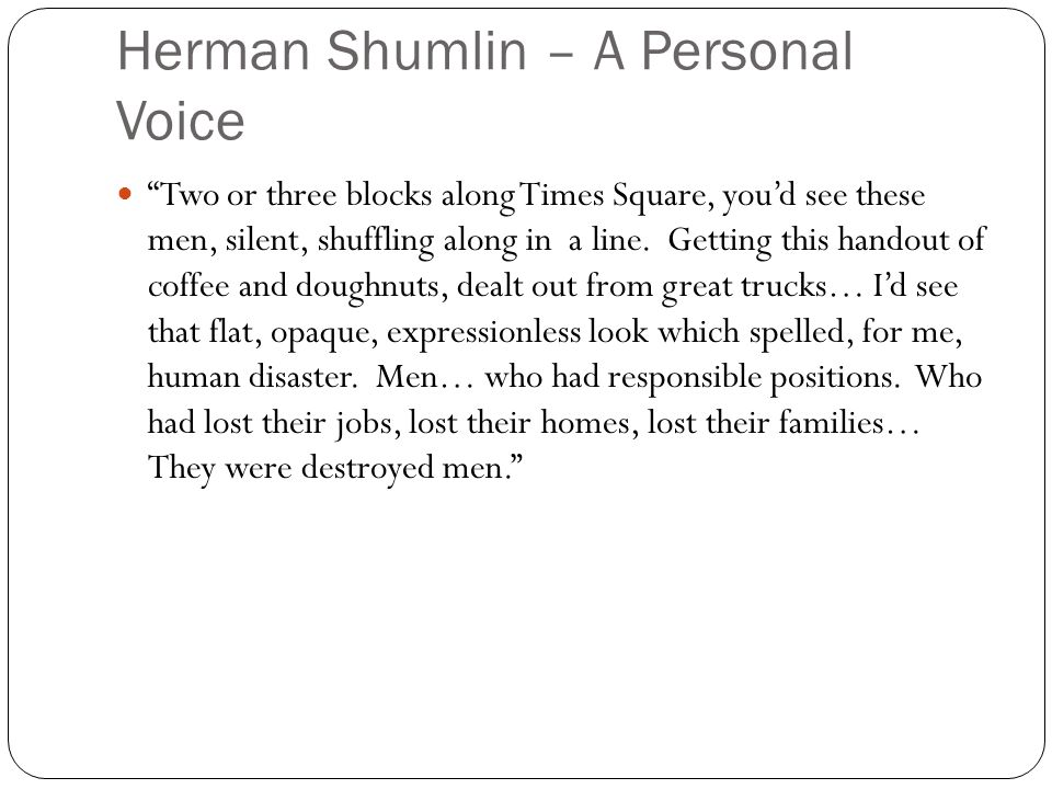 Herman Shumlin – A Personal Voice