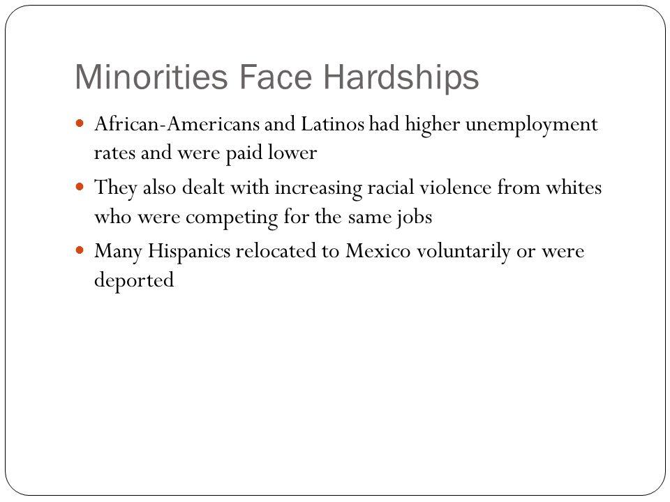 Minorities Face Hardships