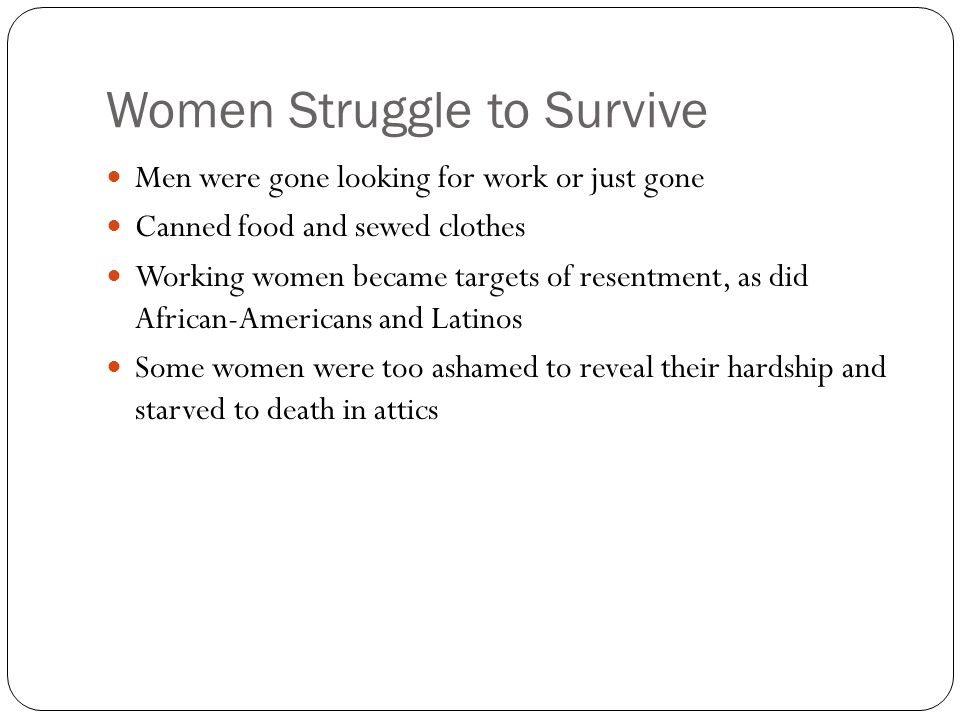 Women Struggle to Survive