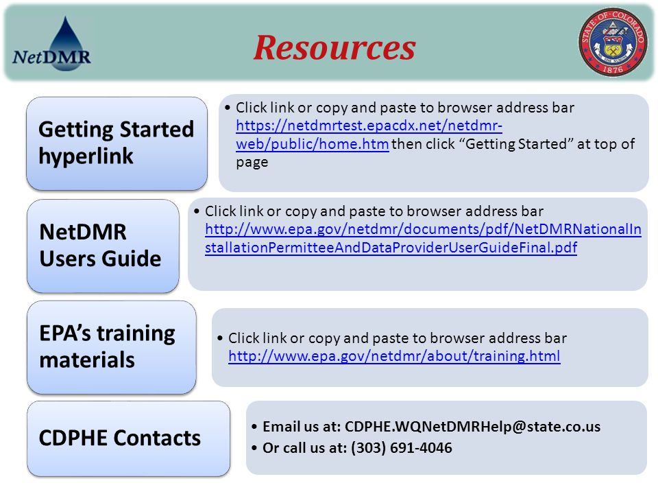 Resources Getting Started hyperlink NetDMR Users Guide