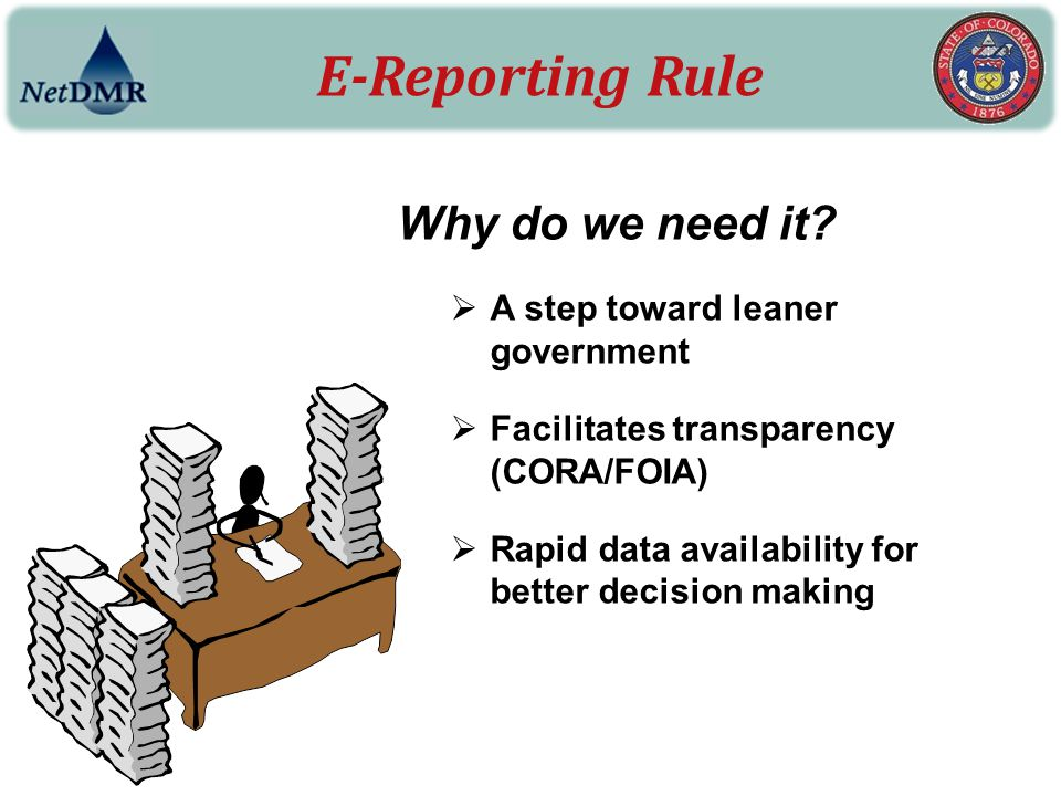 E-Reporting Rule Why do we need it A step toward leaner government