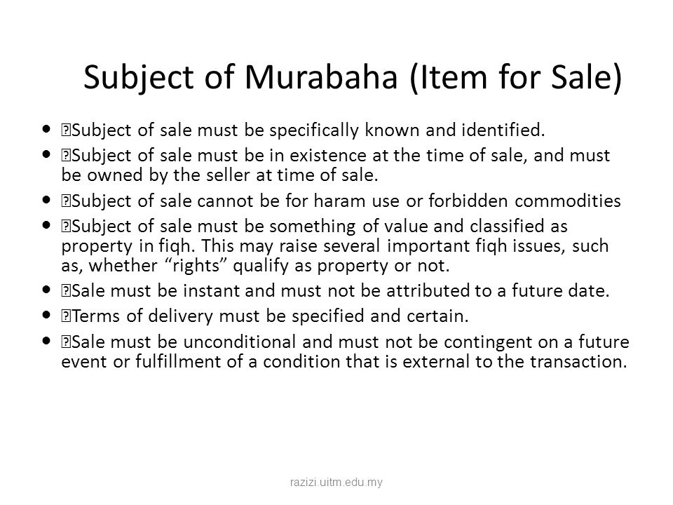 Subject of Murabaha (Item for Sale)