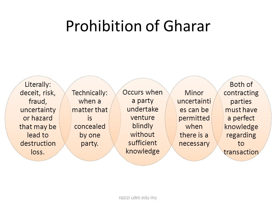 Prohibition of Gharar Literally: deceit, risk, fraud, uncertainty or hazard that may be lead to destruction loss.