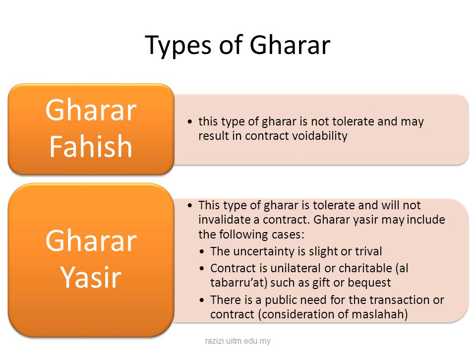 Types of Gharar Gharar Fahish. this type of gharar is not tolerate and may result in contract voidability.