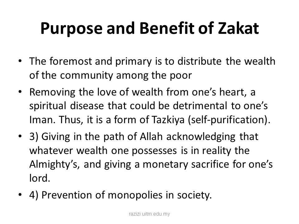 Purpose and Benefit of Zakat