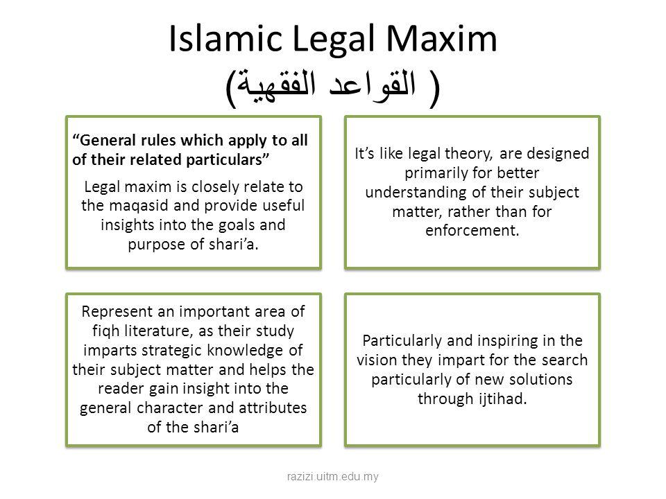 Islamic Legal Maxim ( القواعد الفقهية)