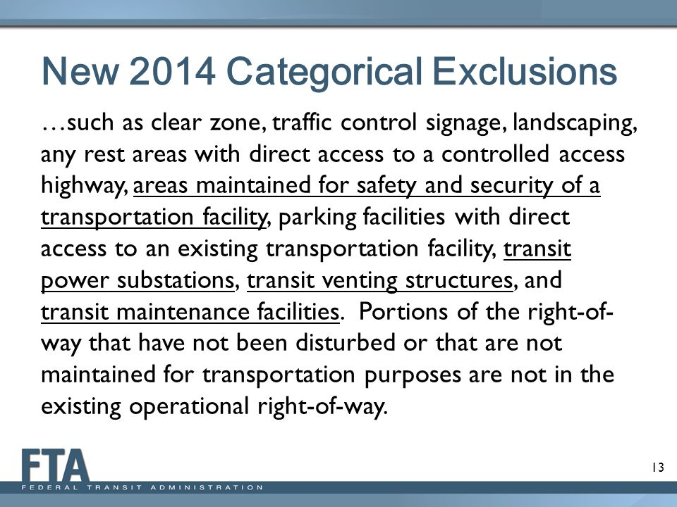 New 2014 Categorical Exclusions