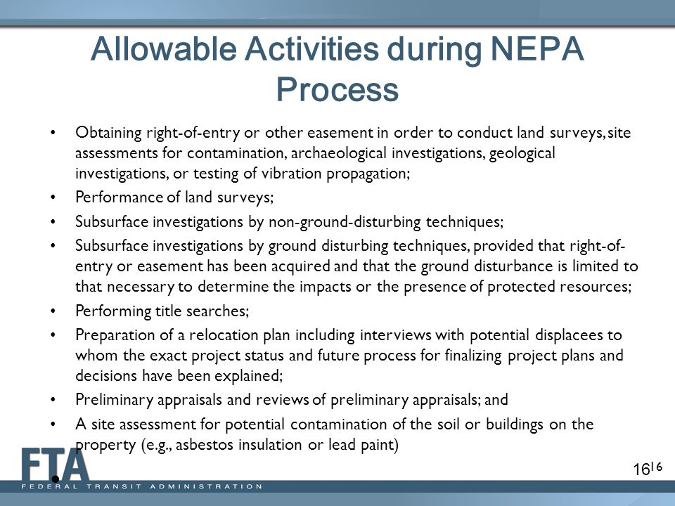 Allowable Activities during NEPA Process