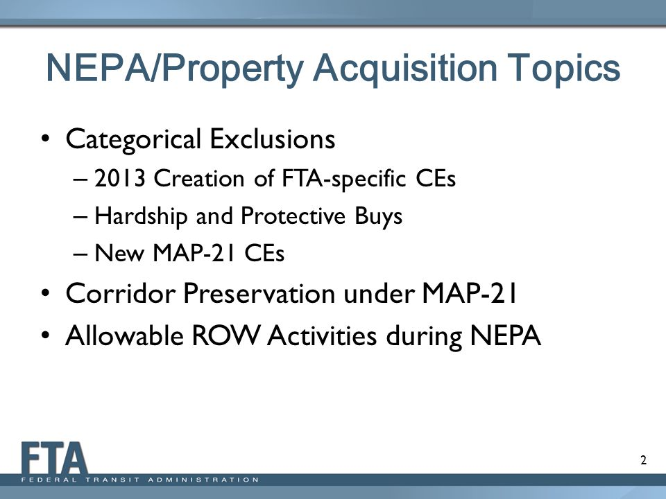 NEPA/Property Acquisition Topics