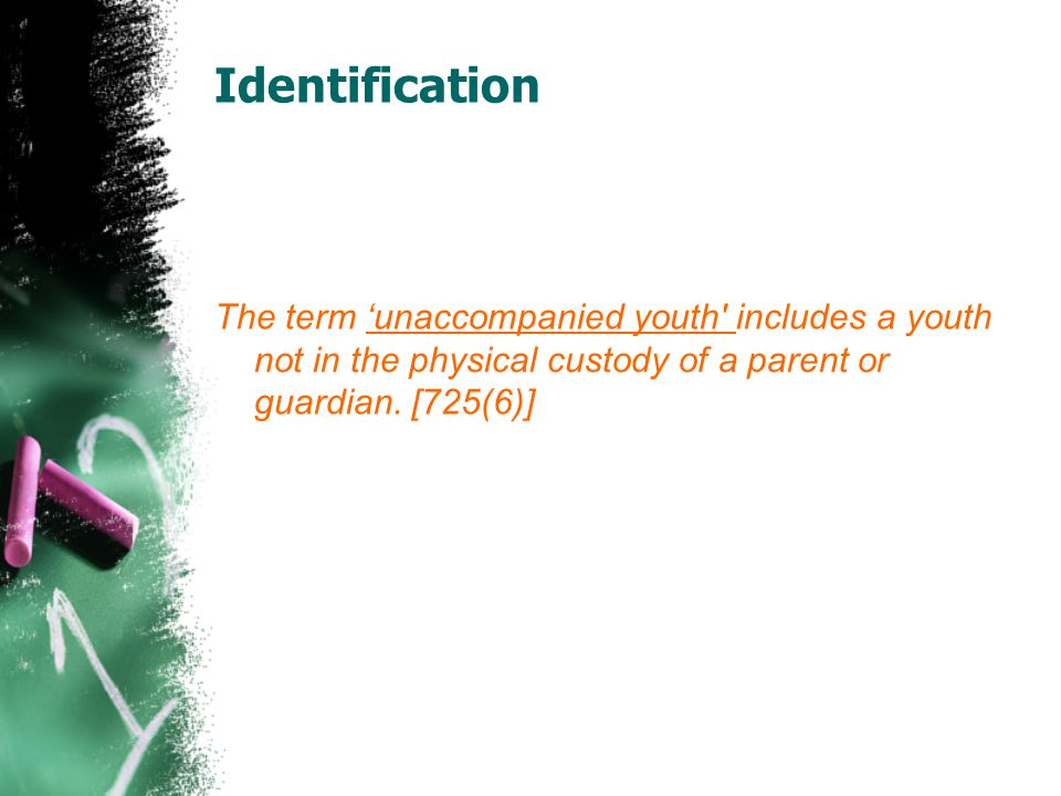 Identification The term 'unaccompanied youth includes a youth not in the physical custody of a parent or guardian.