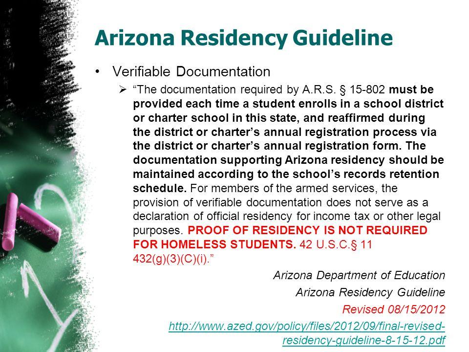 Arizona Residency Guideline