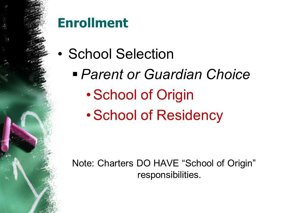 Note: Charters DO HAVE School of Origin responsibilities.