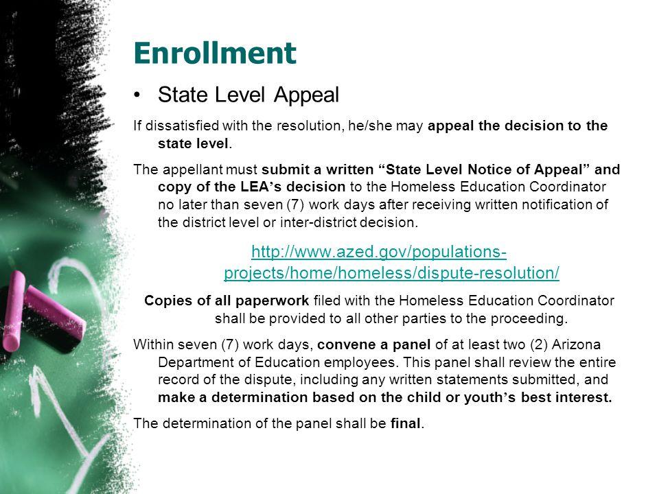 Enrollment State Level Appeal