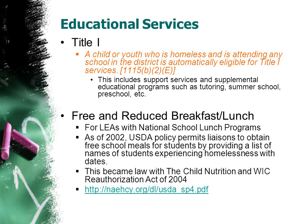Educational Services Title I Free and Reduced Breakfast/Lunch