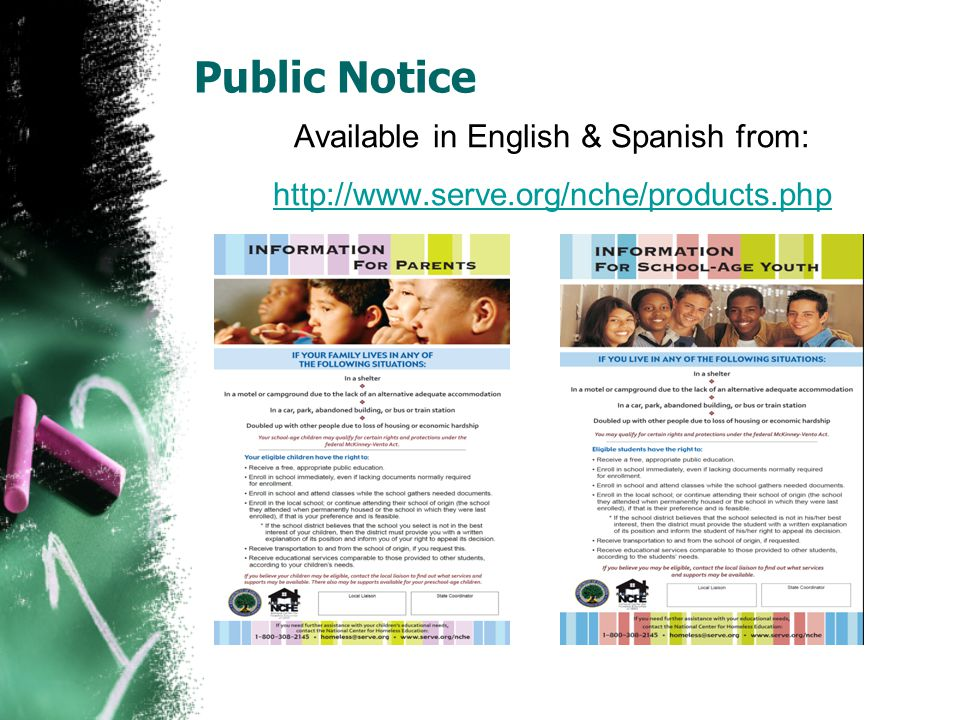 Public Notice Available in English & Spanish from: http://www.serve.org/nche/products.php