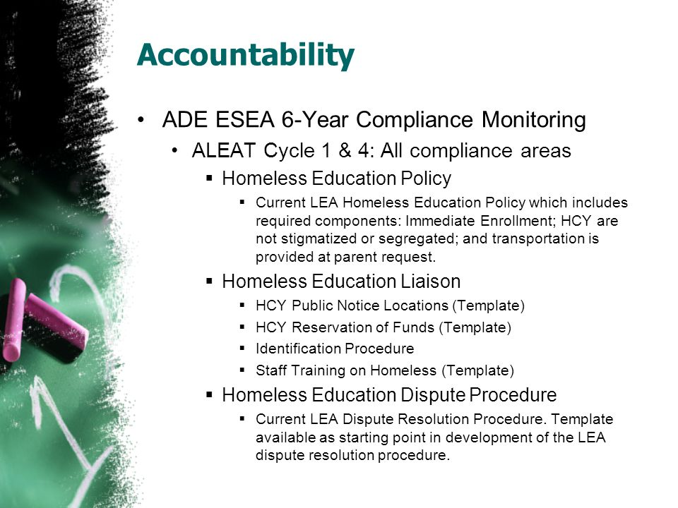 Accountability ADE ESEA 6-Year Compliance Monitoring