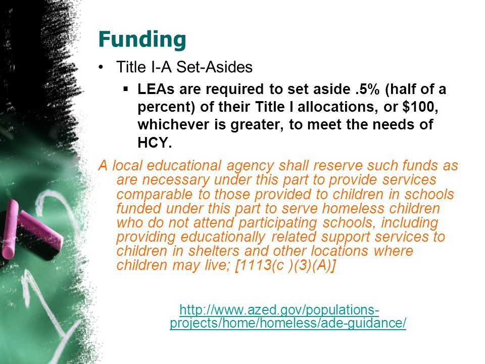 Funding Title I-A Set-Asides